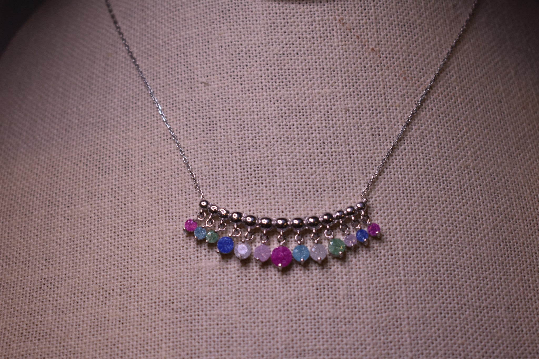 Handmade MultiColor   Sterling Silver Silver Color Necklace