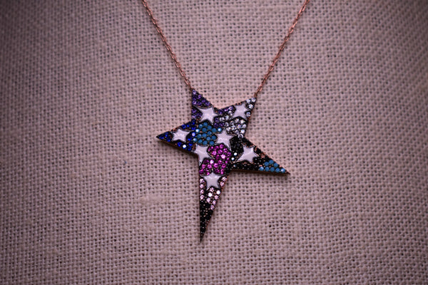 Handmade MultiColor Enamel Star Sterling Silver Rose Gold Color Necklace