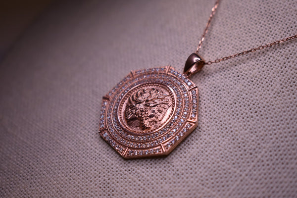 Handmade Greek Coin Zeus Sterling Silver Rose Gold Color Necklace