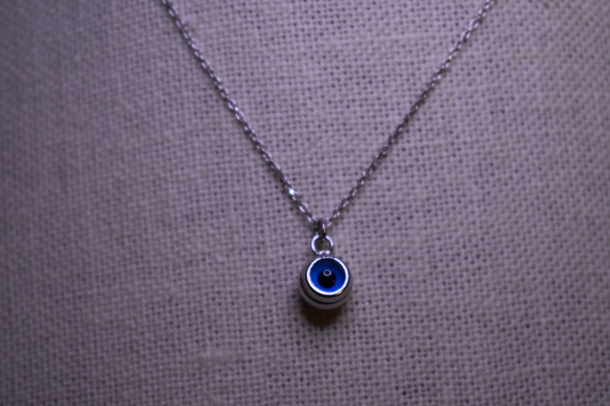Handmade Small Silver Evil Eye Sterling Silver Silver Color Necklace
