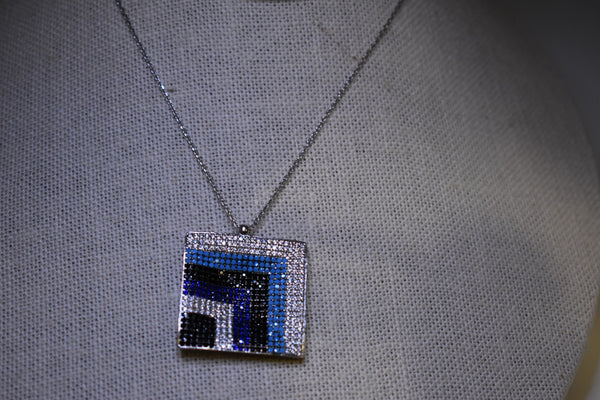 Handmade Square MultiColor Evil Eye Sterling Silver Silver Color Necklace