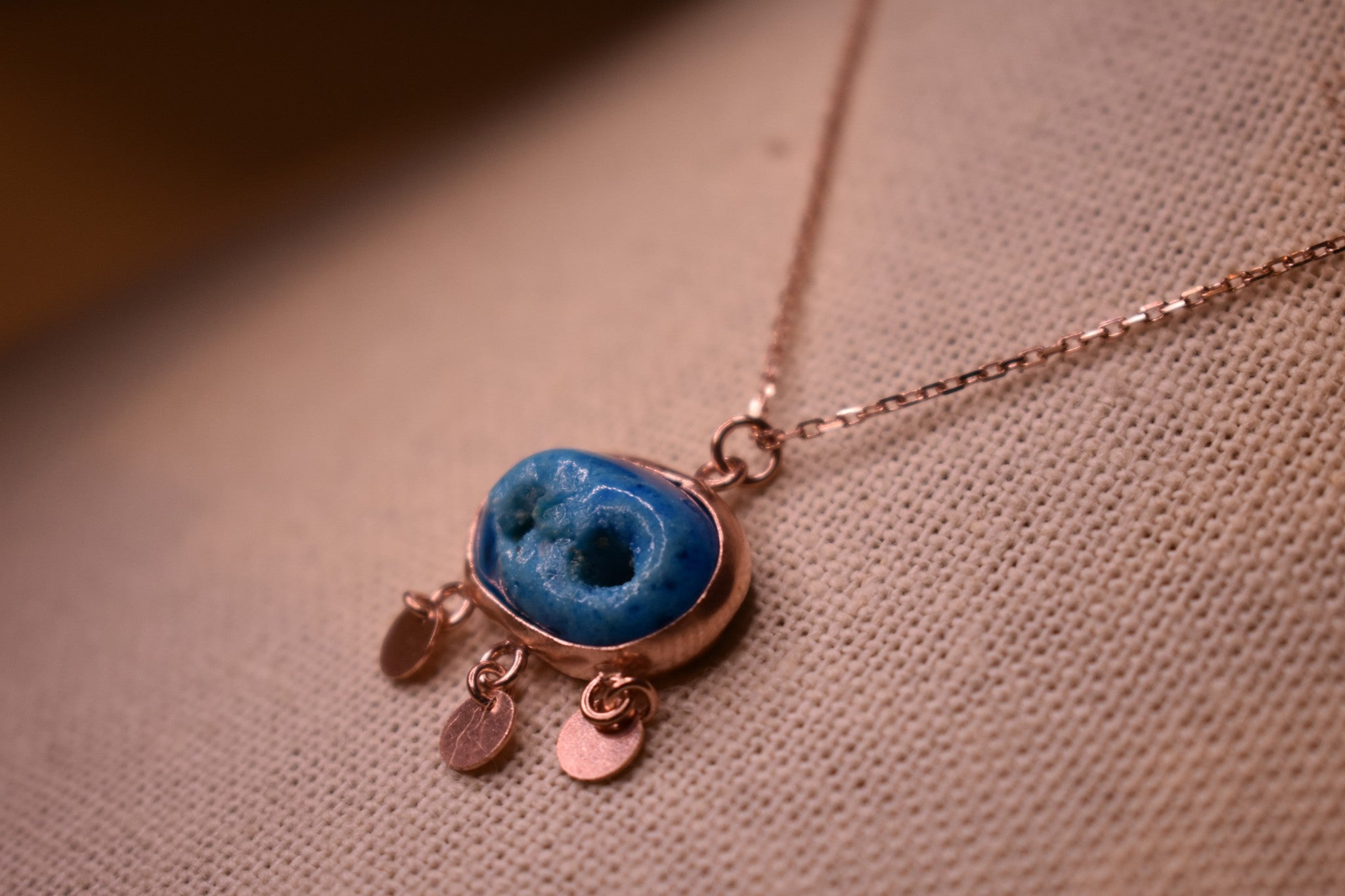 Handmade Ancient Mesopotamia Version Blue Evil Eye Sterling Silver Rose Gold Color Necklace