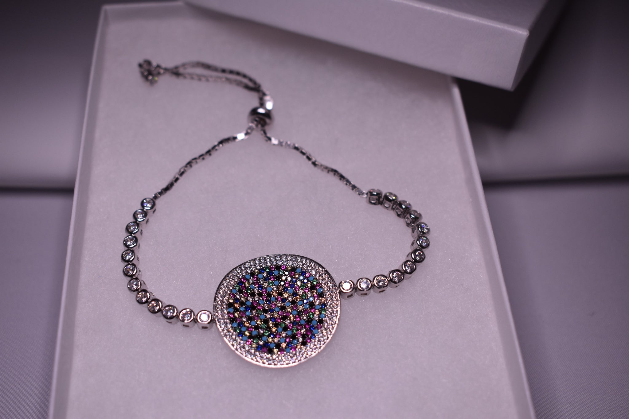Handmade Multicolor Circle Sterling Silver Silver Color Bracelet