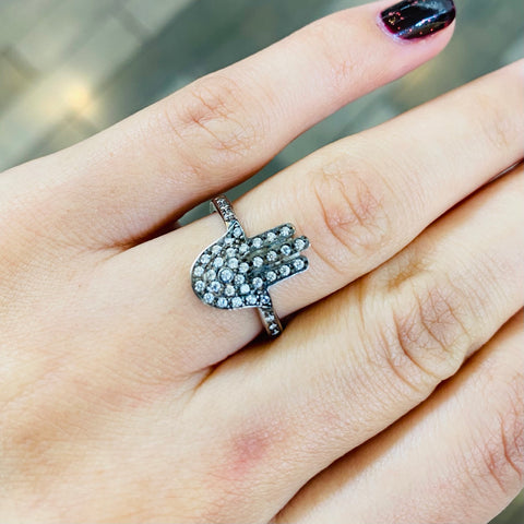 Black Hamsa Sterling Silver Adjustable Ring