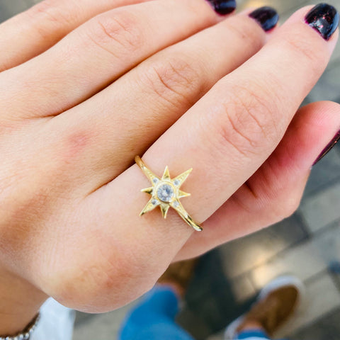 True North Star Ring Golden Adjustable