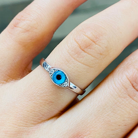 Blue Eye Shape Ring Sterling Silver