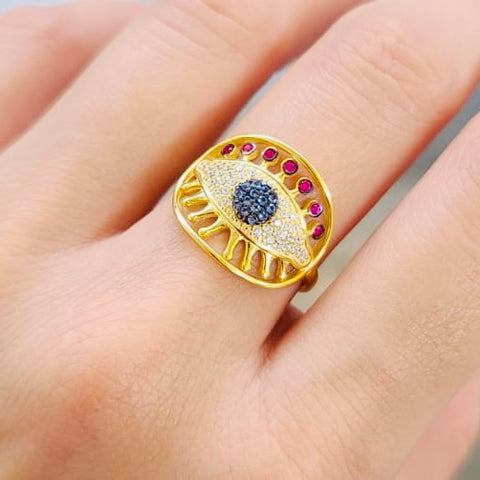 Turkish Evil Eye Shape Ring Adjustable