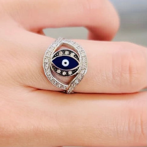 Enamel Eye Shape Ring Big