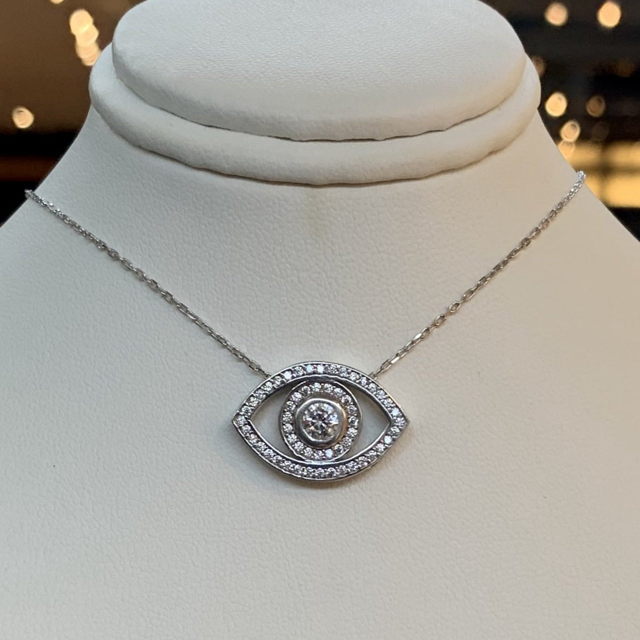 Big Eye Shape Necklace with Crystals