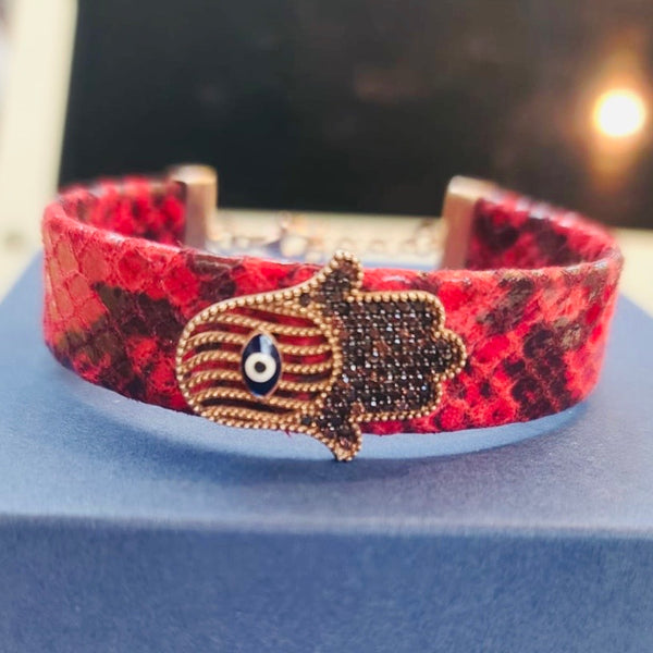 Red Leather Emanel Hamsa Bracelet