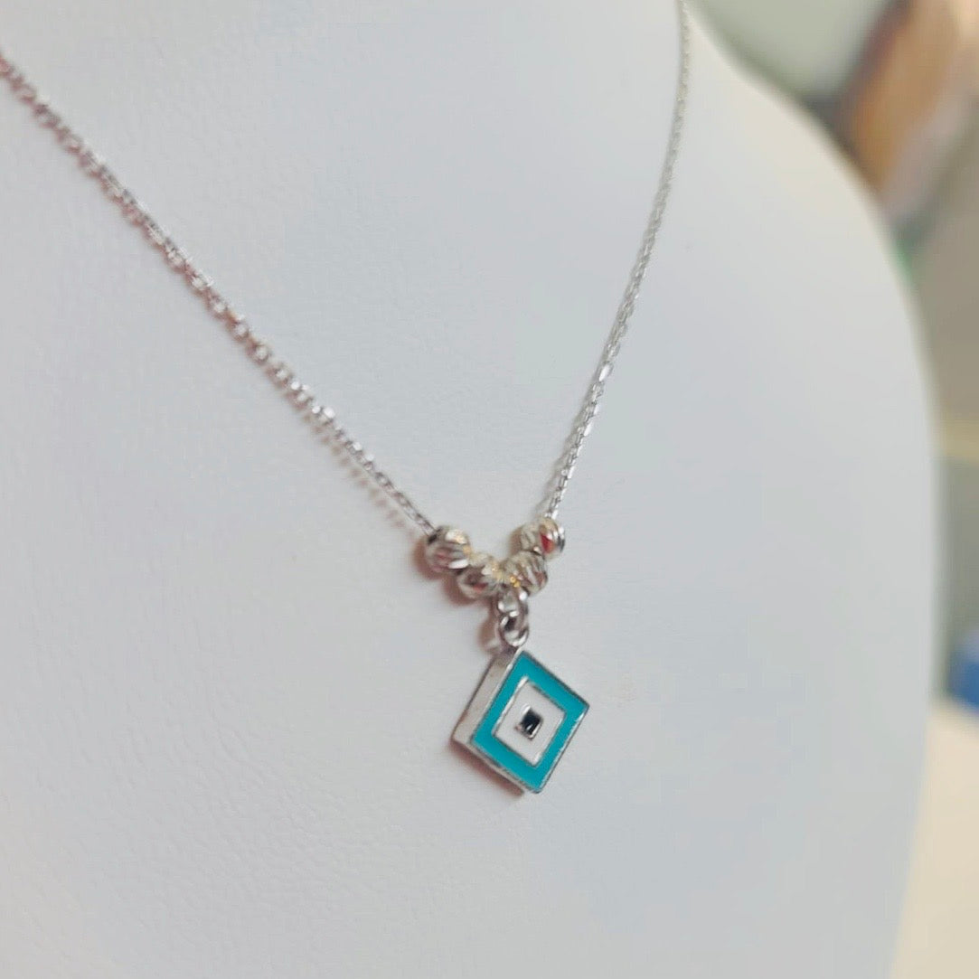 Turquoise Enamel Square Necklace Sterling Silver