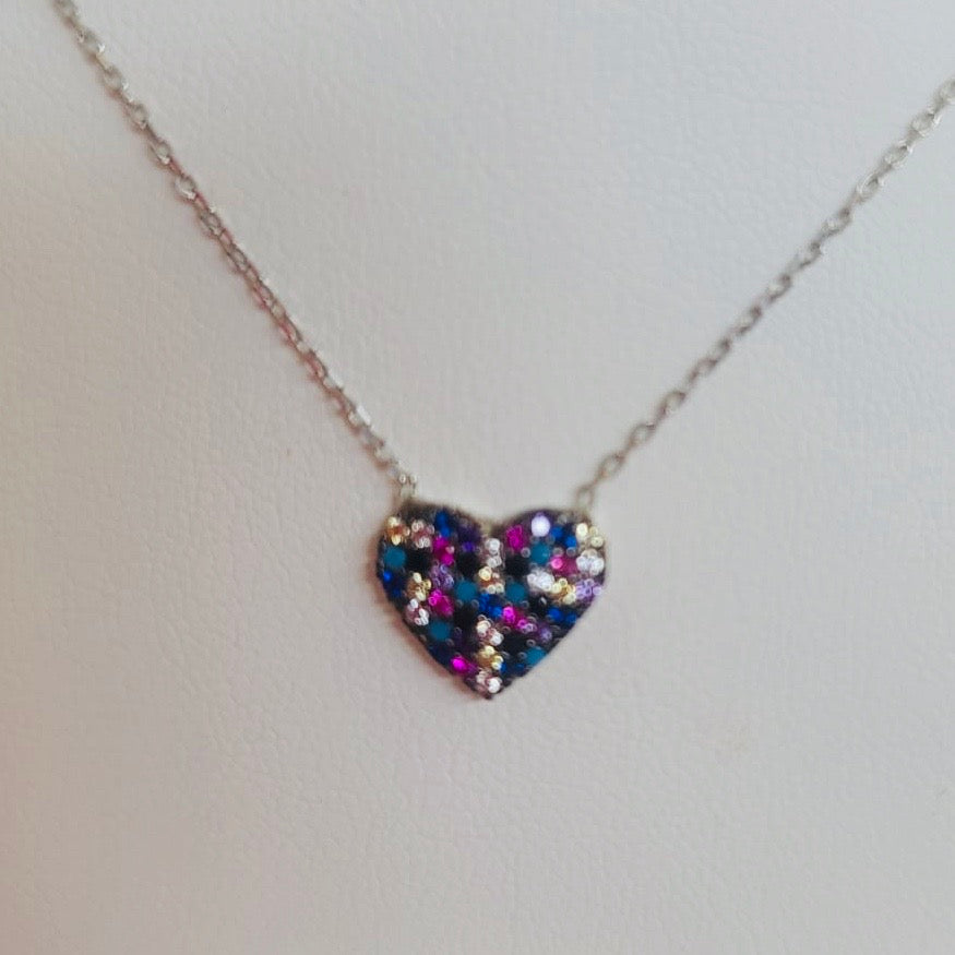 Multicolor Crystal Heart Necklace Sterling Silver