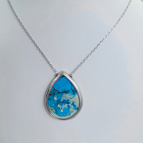 Real Turquoise Stone Sterling Silver Necklace