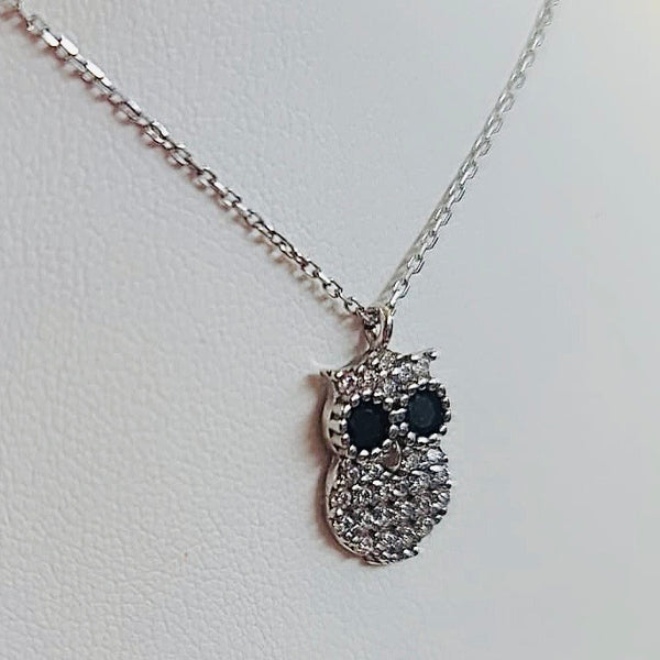 Crystal Small Owl Sterling Silver Necklace