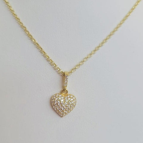Gold Crystal Heart Necklace Sterling Silver