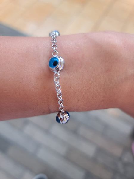 Evil Eye Bracelet Sterling Silver Turkish