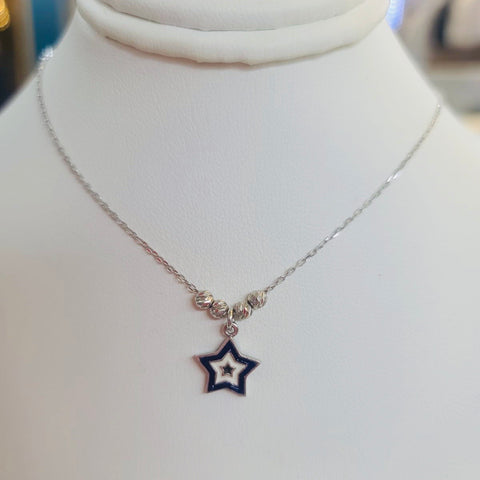 Enamel Navy Star Sterling Silver Necklace
