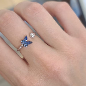 Blue Crystals Butterfly Ring Adjustable 925 Sterling Silver