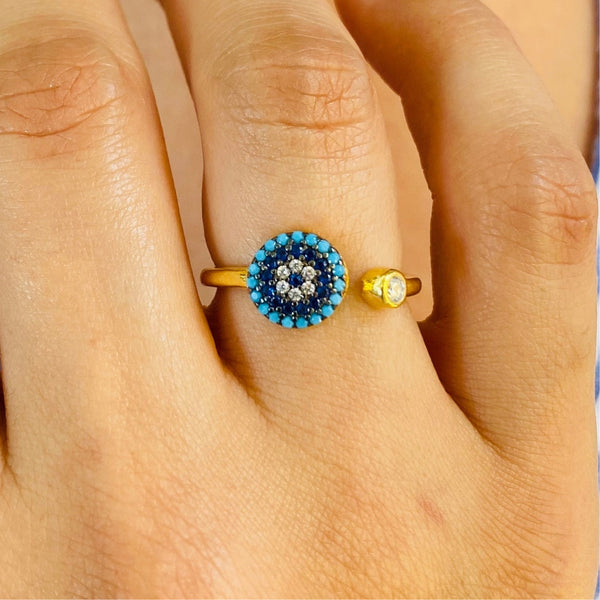 Blue Evil Eye Sterling Silver Ring