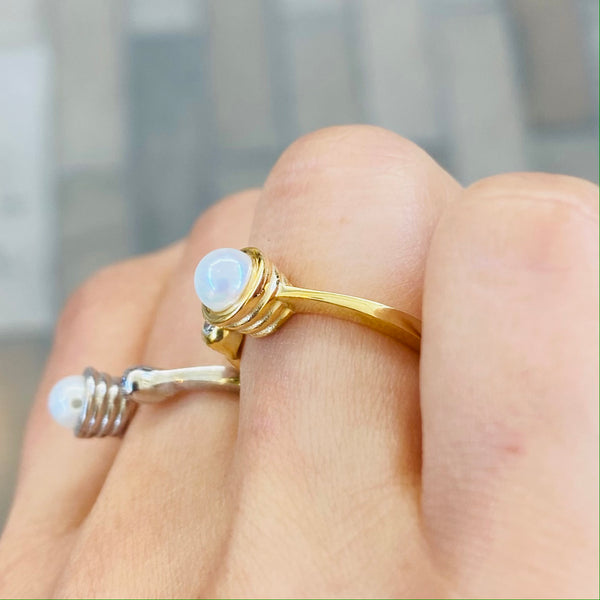 Pearl Dainty Adjustable Silver Ring