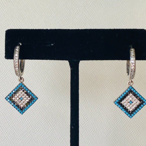 Square Dangling Evil Eye Earrings