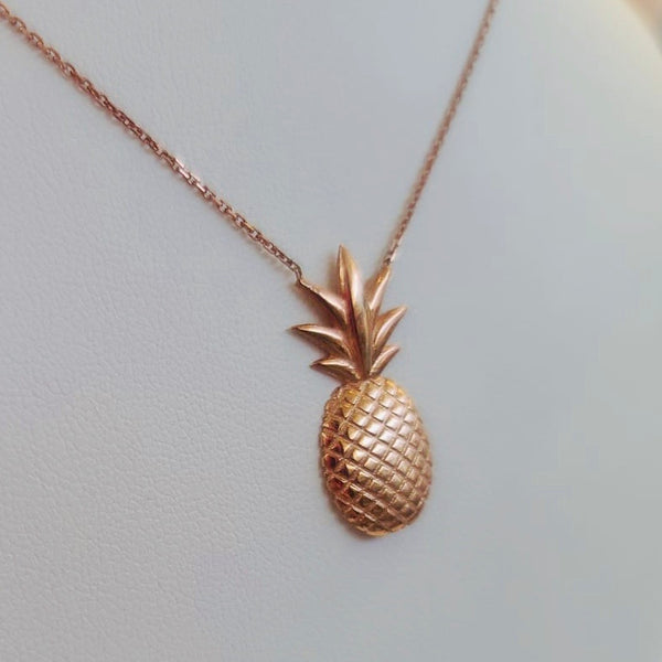 Handmade Pineapple Sterling Silver Rose Gold Color Necklace