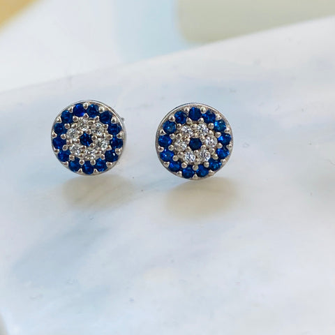 Crystal Evil Eye Stud Earrings