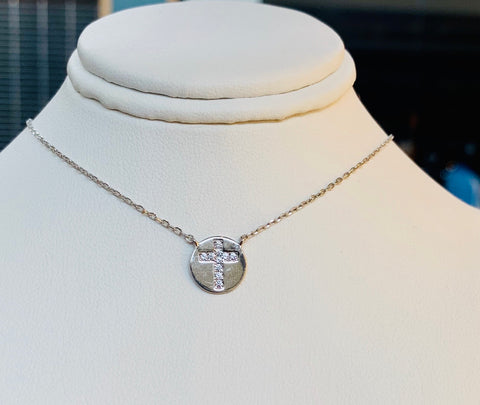 Mini Cross Sterling Silver Nevklace