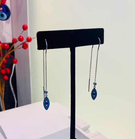 Long Evil Eye Earrings