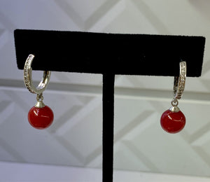 Red Dangling Crystal Silver Hoops Earrings