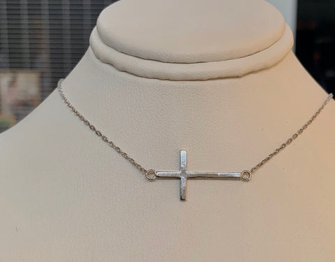 Horizontal Cross Sterling Silver Necklace