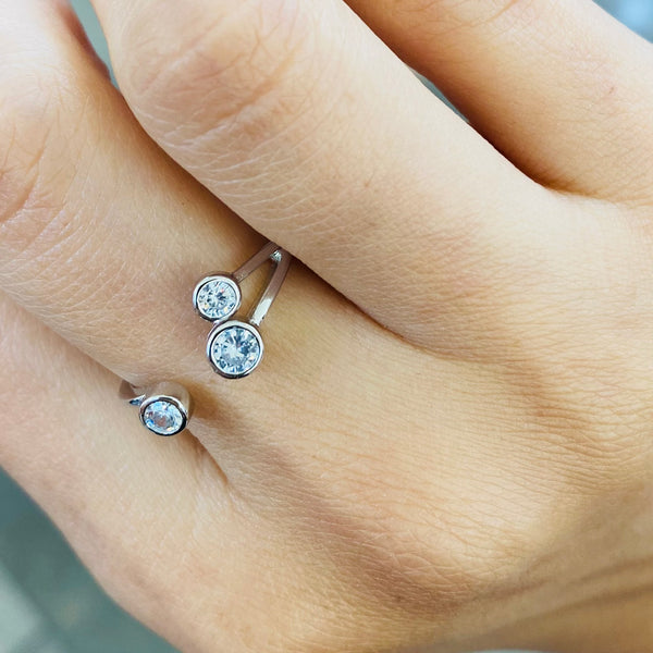 Crystal Stones Adjustable Sterling Silver Ring