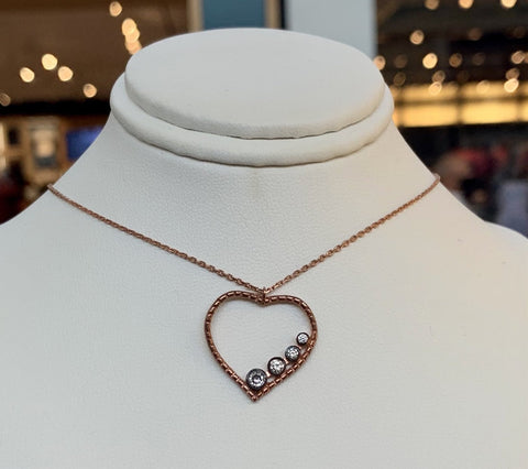 Dainty Heart Rose Gold Silver Necklace