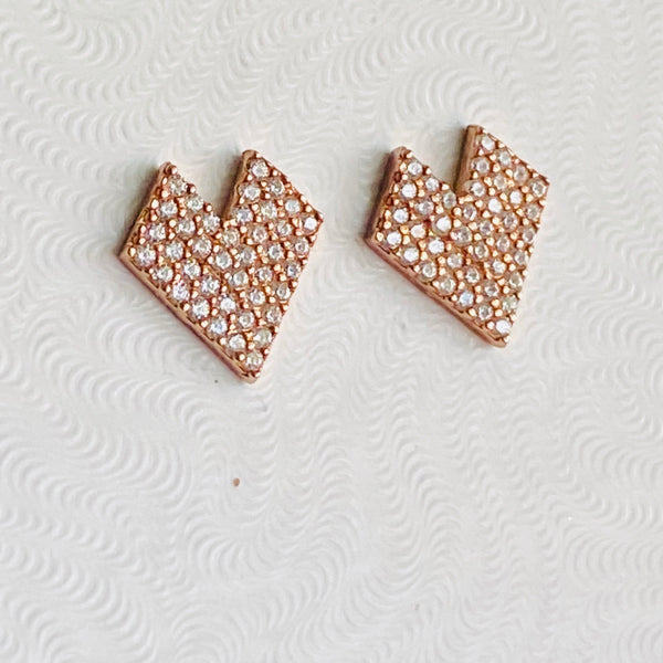 Crystal Rose Gold Stud Earrings
