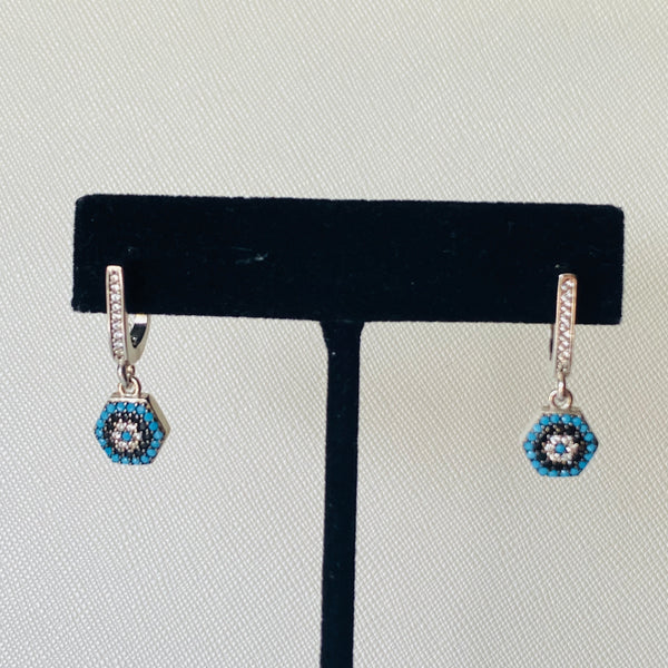 Small Dangling Evil Eye Earrings