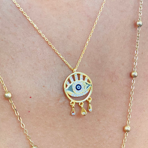 Dainty Crystal Eye Shape Evil Eye Silver Necklace Emanel