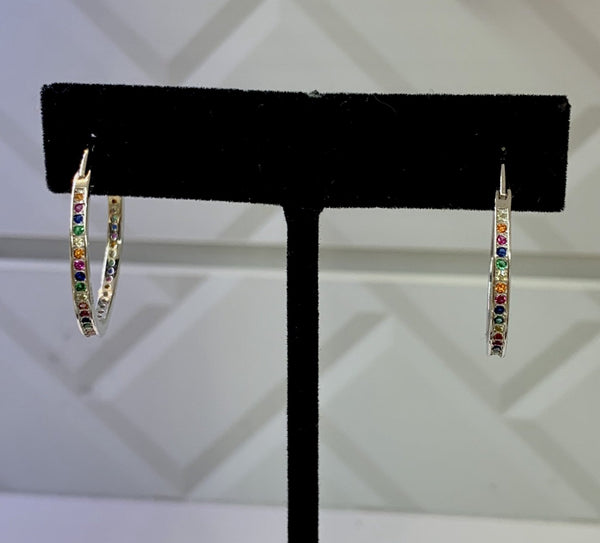 Medium Multicolor Crystal silver Hoops Earrings