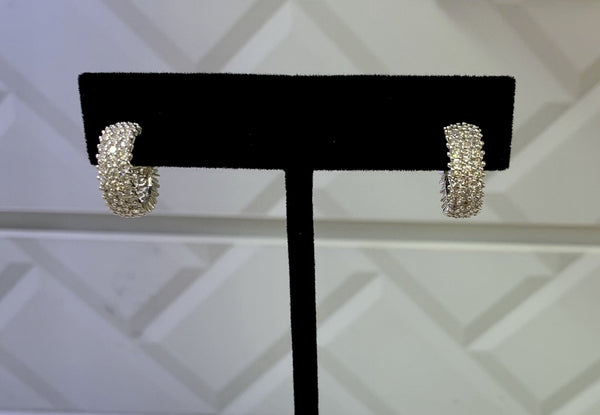 Small Thick Crystal Silver Earings