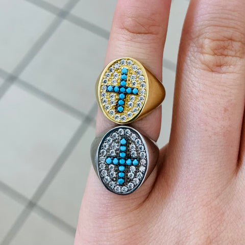 Turquoise Cross Sterling Silver Ring