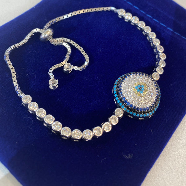 Handmade best evil eye jewelry Sterling Silver Silver Color Bracelet