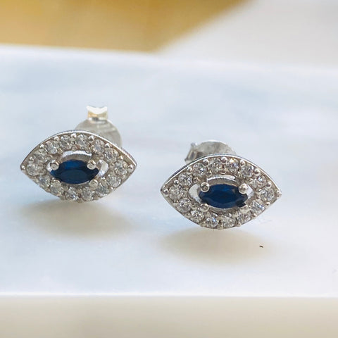 Blue Eye Crystal Evil Eye Stud Earrings