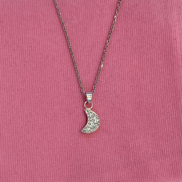 Moon Shape Crystal Silver Necklace