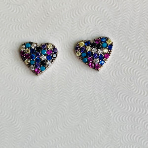 Multicolor Heart Stud Earrings