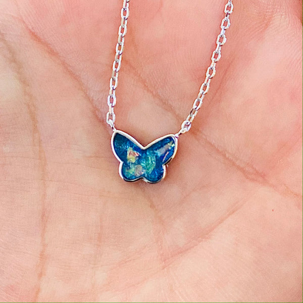 Blue Opal Butterfly Necklace 925 Sterling Silver