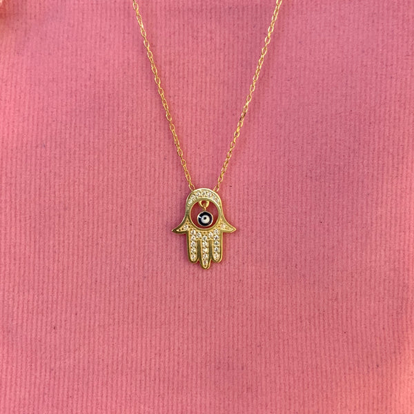 Hamsa Evil Eye Necklace Turkish Jewelry