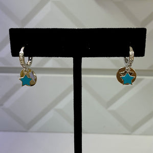 Small Turquoise Star Dangling Silver Earrings