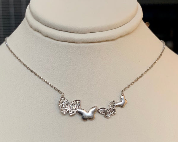 Multiple Butterfly Crystal Necklace