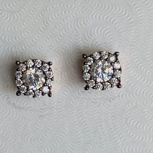 Black sterling silver stud earrings