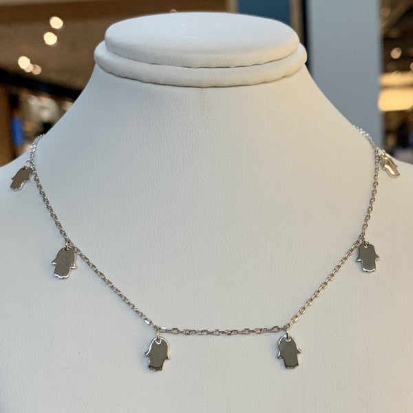 Multiple Hamsa Necklace Sterling Silver