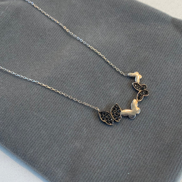 Black Crystal Multiple Butterfly Necklace